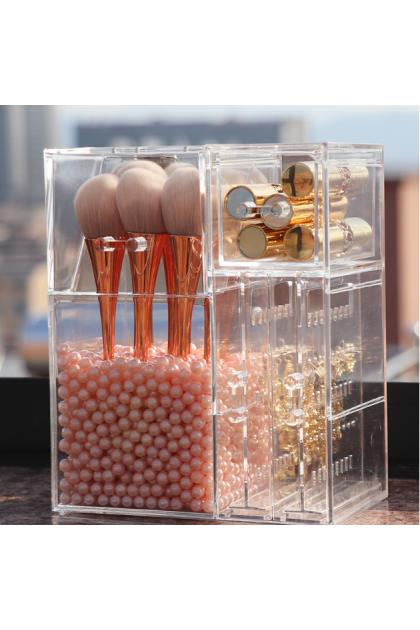 Acrylic Cover Makeup Brush Holder with Dustproof Lid Free Pearl Beads 亚克力多功能美妆刷桶化妆棉口红收纳架(附送珍珠)