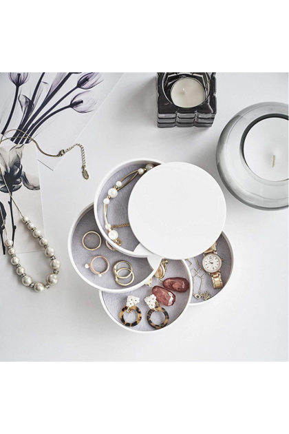 Nordic Style Jewelry Organizer Case 360 Degree Round Rotating Storage Box 北欧ins风格旋转首饰盒防尘饰品收纳盒