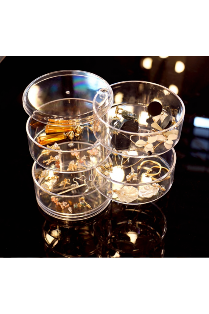 Transparent Creative Cosmetic Jewelry Box Round Four-Layer Rotating Acrylic Container Box 创意旋转多层首饰儿童发饰耳环透明收纳盒