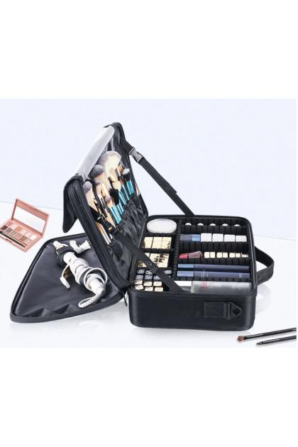 (Small) 2 Layers Makeup Travel/Home Case Waterproof Makeup Bag Cosmetic Organizer Storage Case Brush Holder with Adjustable Divider 小号2层大容量手提/肩背带可调节隔板专业化妆收纳箱