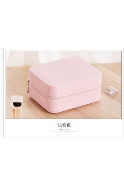 Small Jewelry Box Zipper Leather Jewelry Storage Organizer Box Portable Travel Jewelry Case with Mirror Gift Box 方型首饰盒便携欧式公主风旅行简约耳环耳钉手饰品收纳盒子