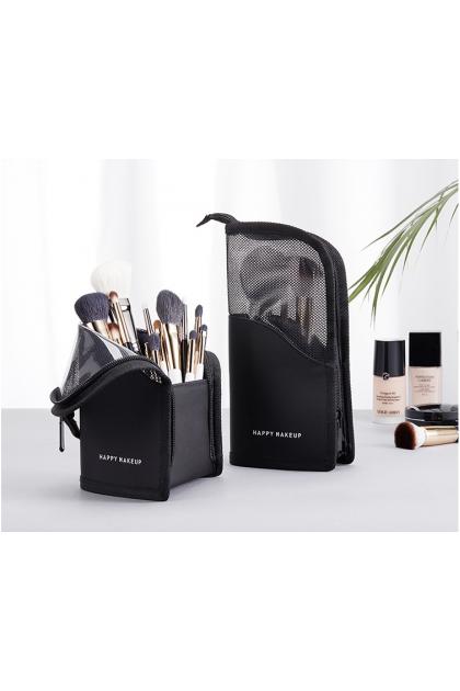 【HappyMakeup】Makeup Brush Organizer Bag Travel Cosmetic Holder Bag Waterproof Dust-free Pencil Cup Holder Case with Zipper 化妆刷收纳包网状立式拉链手拿便携彩妆包