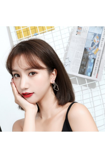 【LargeSize】Korean Elegant LOVE hand Earring  韩版百搭爱心手势耳环-大号-金色/银色