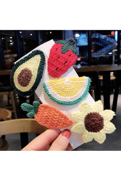 Cutie Woolen Fruits Vege Flowers Hair Clips 可爱蔬果花朵毛线发夹