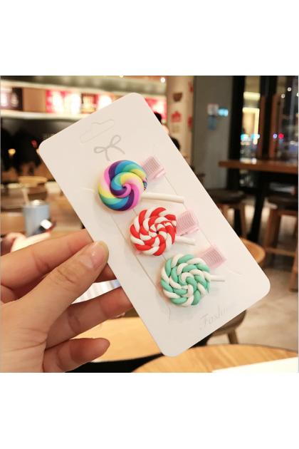 Korean Style Rainbow Cute Hair Clips 韩国爆款糖果色彩虹棒棒糖发夹套装