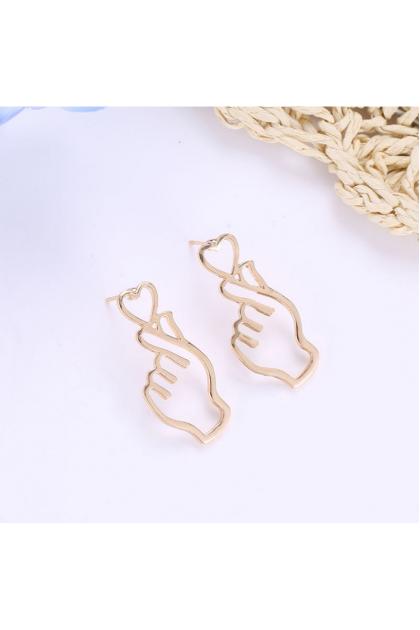 【Small Size】Korean Elegant LOVE hand Earring  韩版百搭爱心手势耳环-小号-金色/银色/黑色