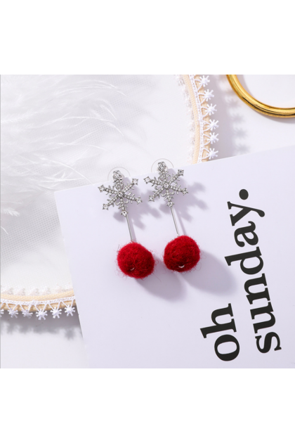 【Xmas Gift】Lovely Snow Ball Red Earrings 甜美爱心雪花绒球圣诞耳环